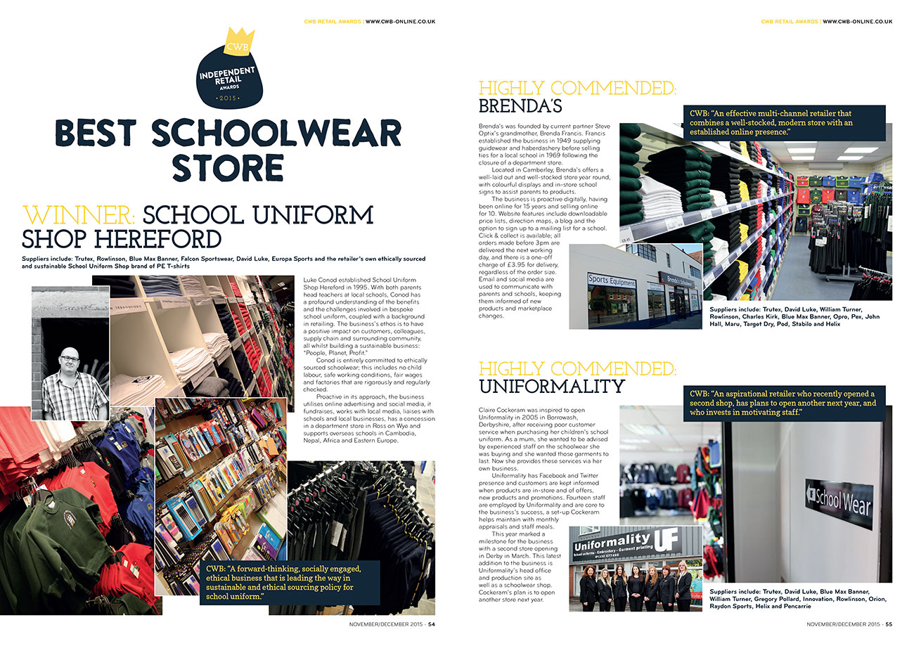 CWB97 CWB Retail Awards Best Schoolwear Store